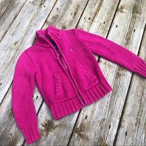 Ralph Lauren Pink Cable knit zip up size 3T